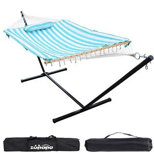 Zupapa Cotton Rope Pad Hammock with Stand 400lbs Capacity, Indoor Outdoor Use 12 Feet Hammock Stand Spreader Bar Hammock Pad and Pillow Combo 2 Storage Bags Included (Cyan Stripe)