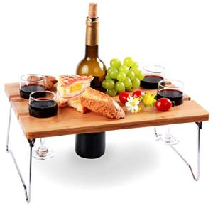 Portable and Foldable Wine and Snack Table for Picnic Outdoor on The Beach Park or Indoor Bed for 2 or 4 - Best Gift for Father Mother