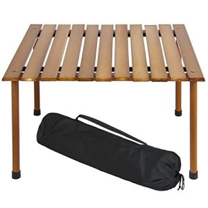 Best Choice Products 28x28in Foldable Outdoor/Indoor Wooden Table for Picnics, Camping, Beach w/Carrying Case