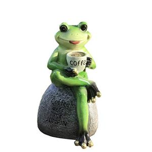 "Creative Green Frog Sitting on Stone Statue Drinking Coffee Indoor Outdoor Garden Statue Decoration Collectible Frog Figurine Statue Model Sculpture (6"" Frog On Stone)"