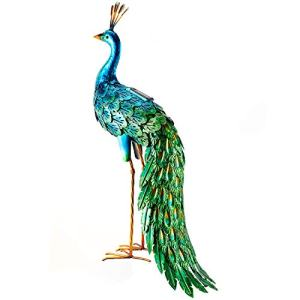 chisheen Statues Outdoor Metal Art Peacock Solar Lights for Lawn Backyard Living Room Party Wedding Decoration