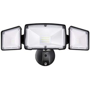 Amico 30W Dusk to Dawn LED Flood Light - 3 Head Security Light Outdoor, Metal Head 5000K Daylight White 3500 Lumens IP65 Waterproof, Black Exterior Wall Flood Light Outdoor with Photocell