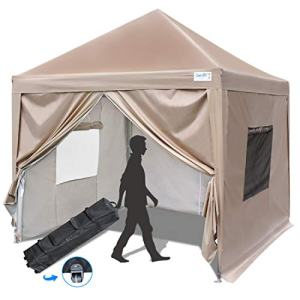 Quictent Privacy 10x10 Ez Pop up Canopy Tent Enclosed Instant Canopy Shelter with Sidewalls and Mesh Windows Waterproof (Beige)