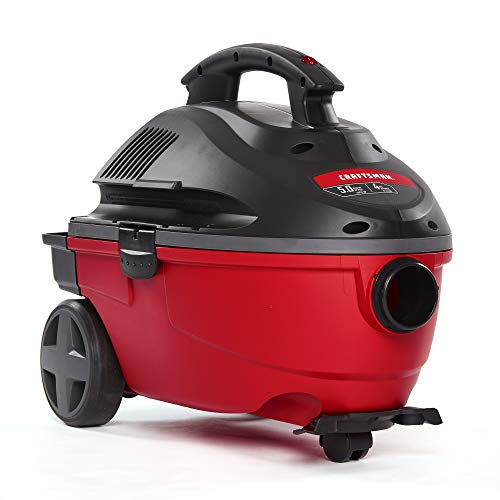 CRAFTSMAN 17612 4 Gallon 5.0 Peak HP Wet/Dry Vac, Portable Shop Vacuum with Attachments, Red (9-17612)