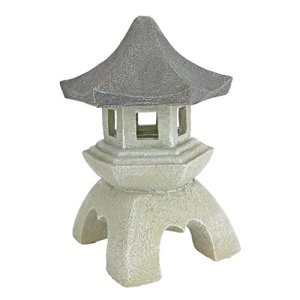 Design Toscano Asian Decor Pagoda Lantern Outdoor Statue, Medium 10 Inch, Polyresin, Two Tone Stone