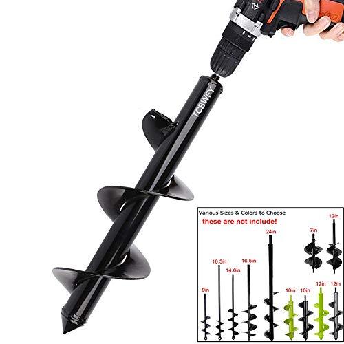 """Auger Drill Bit 3x12inch Garden Auger Spiral Drill Bit Rapid Planter for 3/8"""" Hex Drive Drill - for Tulips, Iris, Bedding Plants and Digging Weeds Roots"""