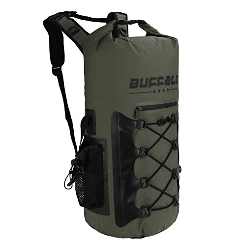 Buffalo Gear Portable Insulated Backpack Cooler Bag - Hands-Free and Collapsible, Waterproof and Soft-Sided Cooler Backpack for Hiking, Picnics,Camping, Fishing - Army Green,35 Liters,30 Can