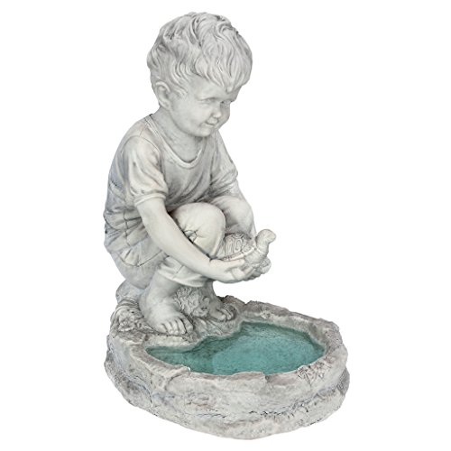 Design Toscano SH38100313 Tommy at The Turtle Pond Little Boy Statue, Full Color