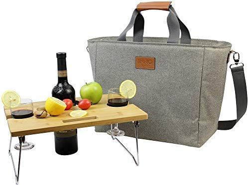 INNO STAGE 40L Large Insulated Cooler Tote, XL Portable Wine Carrier Bag Picnic Cooler Bag with Portable Bamboo Wine Snack Table with 2 Positions - Best Fathers Day Gift