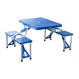 Outsunny Portable Foldable Camping Picnic Table with Seats Chairs and Umbrella Hole, 4-Person Fold Up Travel Picnic Table, Blue