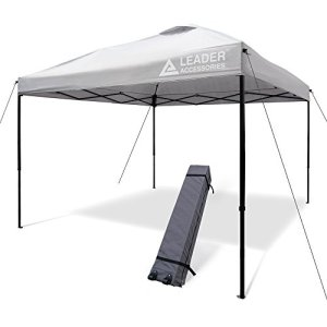 Leader Accessories Pop Up Canopy Tent 10'x10' Canopy Instant Canopy Shelter Straight Leg Including Wheeled Carry Bag, Silver
