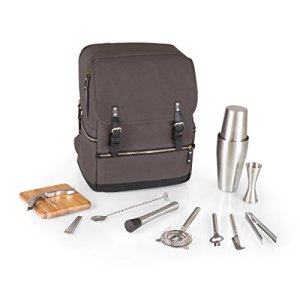 LEGACY - a Picnic Time Brand Bar Backpack 16-Piece Portable Cocktail Set, Grey/Black