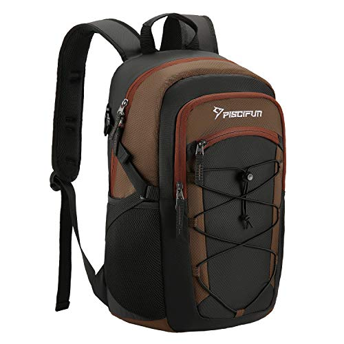 Piscifun Insulated Cooler Backpack, Leakproof Lightweight Cooler Bag, Soft Backpack Cooler for Men and Women Bag Cooler for Lunch, Picnic, Fishing, Hiking, Camping,Park, Day Trip Balck & Brown