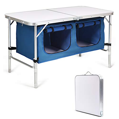 Goplus Outdoor Folding Table with Storage Organizer, 2-Level Adjustable Height, Aluminum Lightweight Portable Camping Foldable Picnic Table (Blue)