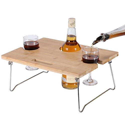 INNOSTAGE Portable and Foldable Wine and Snack Table for Picnic Outdoor on The Beach Park or Indoor Bed-2 Positions