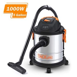 Stainless Steel Shop Vac, TACKLIFE 5.5 Peak HP, 5 Gallon, 1000W Wet Dry Vacuum, Cover 320 Square Feet Clean Range, 4-Layer Filtration System, Dry/Wet/Blow 3 in 1 for Cleaning Needs-PVC02A