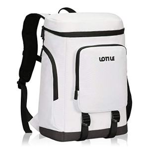 LOTILE Picnic Cooler Backpack Insulated Leakproof,Soft Cooler Bag,Recyclable for Lunch Camping Hiking 20L White