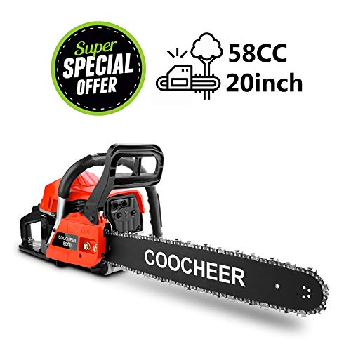 """Yiilove 20"""" 58CC Gas Powered Chainsaw 2 Stroke Handed Petrol Gasoline Chain Saw for Cutting Wood with Tool Kit (Orange)"""