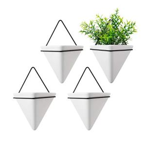 T4U Triangle Wall Planter, Set of 4 Hanging Planter Vase & Geometric Planter Wall Decor Air Plant Container for Home and Office Decoration Birthday Wedding Gift (Medium, White)