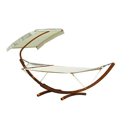 Outsunny Backyard 2-Person Extra Wide Outdoor Arc Hammock with Canopy and Stand