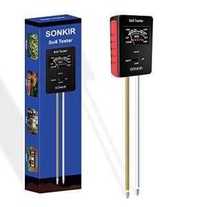 Sonkir Soil pH Meter, MS-X1 Upgraded 3-in-1 Soil Moisture/Light/pH Tester Gardening Tool Kits for Plant Care, Great for Garden, Lawn, Farm (Black)