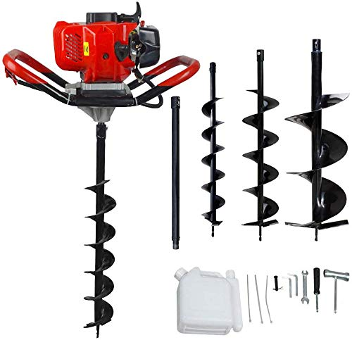 """ECO LLC 52cc 2.4HP Gas Powered Post Hole Digger with 3 Earth Auger Drill Bit 4"""" & 6"""" & 10"""" and Extension Rod"""