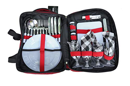 Arkmiido Picnic Backpack for 4 Person Set,with Cooler Compartment, Detachable Bottle/Wine Holder, Fleece Blanket, Plates for Picnic Time,Outdoor, Sports, Hiking, Camping, BBQs