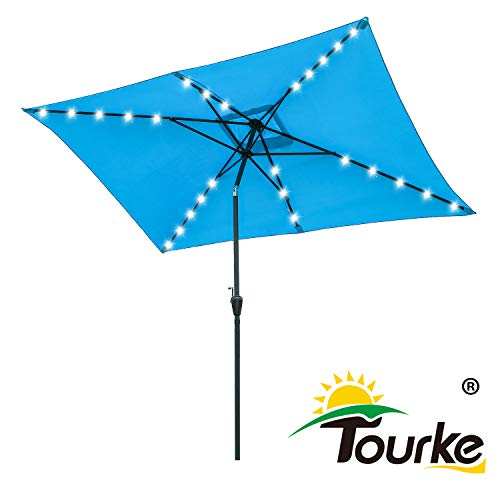Tourke 10 x 6.5 Ft Led Lighted Patio Umbrella Outdoor Table Umbrella with Push Button Tilt and Crank,6 Steel Ribs, for Garden, Deck, Backyard, Swimming Pool and More(Sky Blue)