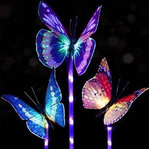 Doingart Garden Solar Lights Outdoor - 3 Pack Solar Stake Light Multi-color Changing LED Garden Lights, Fiber Optic Butterfly Decorative Lights, Solar Powered Stake Light with a Purple LED Light Stake