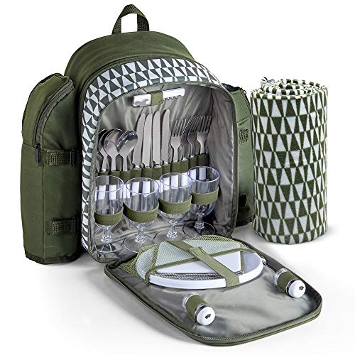 VonShef Picnic Backpack with Insulated Cooler Compartment - Green (4 Person)