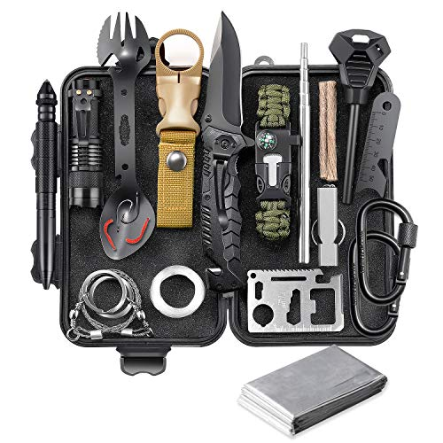 EILIKS Survival Gear Kit, Emergency EDC Survival Tools 24 in 1 SOS Earthquake Aid Equipment, Cool Top Gadgets Valentines Birthday Gifts for Men Dad Him Husband Boyfriend Teen Boy Camping Hiking