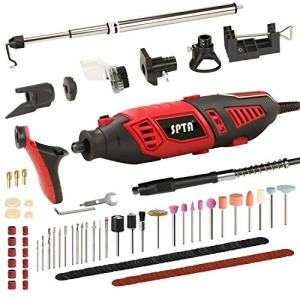 SPTA Professional Variable Speed Rotary Tool Kit with Heavy Duty 170W/1.4A Electric Motor, Universal 3-Jaw Chuck, 10 Attachments & 125 Accessories Included