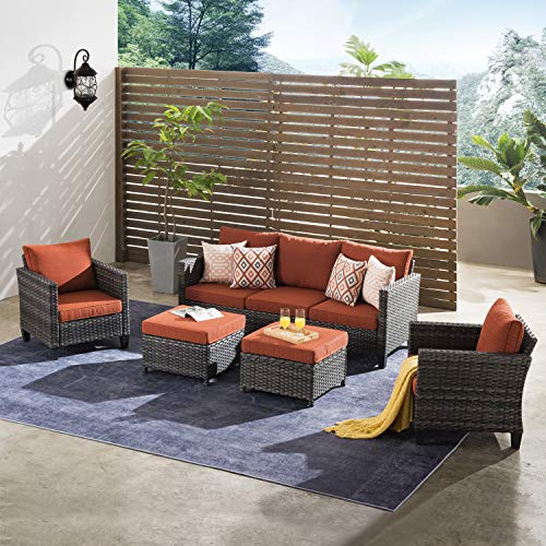 ovios Patio furnitue, Outdoor Furniture Sets,Morden Wicker Patio Furniture sectional with Table and 2 Pillows,Backyard,Pool,Steel (Grey-Orange red)