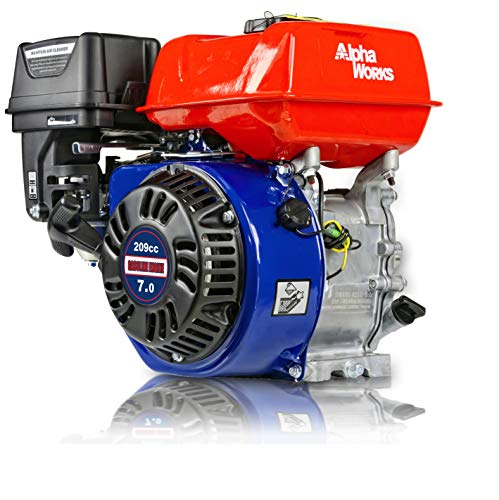 "AlphaWorks Gas Engine 7HP 209cc Motor Horizontal 4 Stroke OHV Recoil Start 3600RPM 8.85Ft-Lbs/12Nm Torque 3/4""x2.43"" Shaft 3/16"" Keyway 5/16""-24 UNF End Tapped Go Kart Log Splitter EPA/CARB Certified"