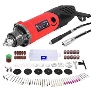 240W Rotary Tool Kit, GOXAWEE Power Die Grinder Set with 1/4 Inch 3-Jaw Chuck (0.5-6 mm), 6 Step Variable Speed, Advanced Flex Shaft & 82Pcs Multifunctional Accessories for DIY Projects