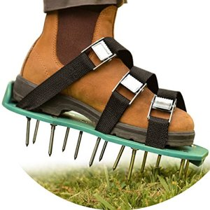 "NiG Tools Healthy and Reviving Lawn Treatment | All-in-1 Aerator Shoes | Heavy Duty Spiked Shoes, 2"" Long Steel Nails, 3 Adjustable Durable Straps with Metal Buckles 