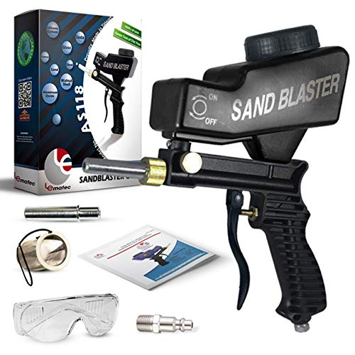 """Sand Blaster, Sand Blaster Gun Kit, Sandblaster with 2 Replaceable Tips & ¼"""" Quick Connect, Safety Goggles, Filter, Media Guide. Works with All Blasting Abrasives – Professional Series (AS118-BL)"""