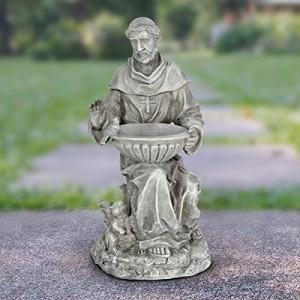 "Exhart St. Francis of Assisi Garden Statue - Durable Resin Statue of Saint Francis w/Bird Bath Bowl - Christian Yard Decor, Resin Christian Statues, Garden Art Decorations, 19"""