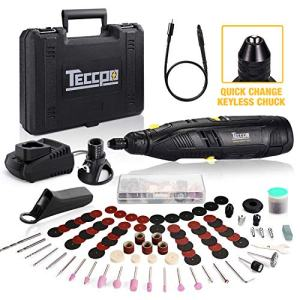 Cordless Rotary Tool, TECCPO 12V Powerful Rotary Tool Kit with 2.0Ah Li-ion Battery, Universal Keyless Chuck, 1-Hour Fast Charger, 6-Speeds Adjustable, 80 Accessories, Perfect Gift for DIY & Crafts
