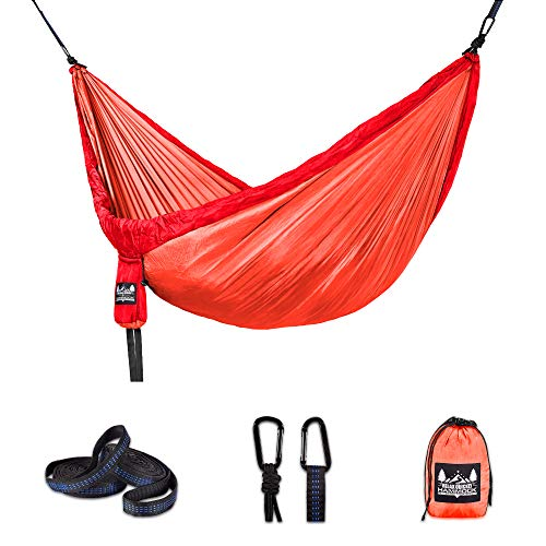 Better Outdoor Supply Hammock - Portable - Durable - Lightweight 210T Nylon Parachute Kit - Multiple Colors - Perfect Relaxing - Camping - Outdoor - Indoor and Travel | (Reddish Orange, Single)