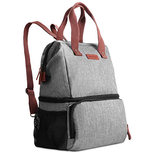 DYNASCO Lunch Bag for Work School, 2-Layer Fashionable Backpack Lunch Bag with Large Capacity, Keep Foods Warm or Cold, Perfect for Office, Picnic, Beach (Gray)