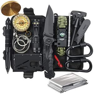 Gifts for Men Dad Fathers Day, Survival Kit 14 in 1, Survival Gear, Fishing Hunting Birthday Gifts Ideas for Him Husband Boyfriend Teen Boy, Cool Gadget Stocking Stuffer, Emergency Camping Gear