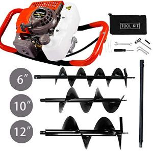 """ECO LLC 63CC Heavy Duty Gas Powered Post Hole Digger with 3pcs Earth Auger Drill Bits (6"""" & 10"""" & 12'' Bits) and 60cm Extention Rod"""