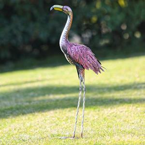 Kircust Garden Standing Pink Flamingo Ornaments Statue Tall Yard Art Decor, Outdoor Durable Metal Bird Sculpture for Lawn Patio Walkway Backyard Ornaments, 31.1-Inch, Retro Pink