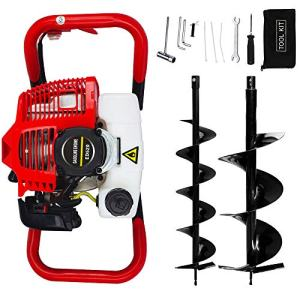 """ECO LLC 52cc 2.4HP Gas Powered Post Hole Digger with TWO Earth Auger Drill Bit 6"""" & 10"""""""
