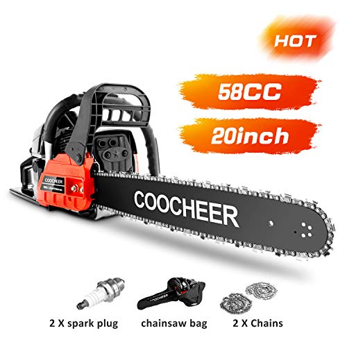 """COOCHEER Chainsaw 58CC 20"""" Powerful Gas Chainsaw 2 Stroke Handed Petrol Chain Saw Woodcutting Saw for Farm, Garden and Ranch with Tool Kit"""
