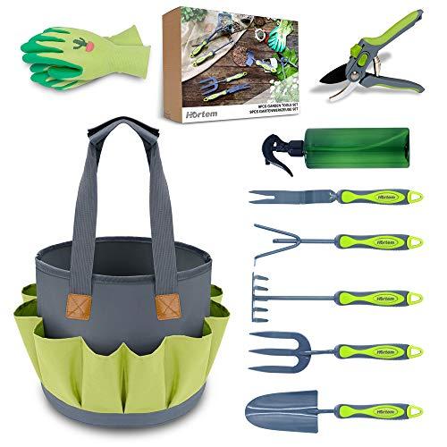 Hortem 9 PCS Garden Tools Set Include Outdoor Hand Tools,Garden Storage Bag, Bypass Pruners, Gardening Gloves, Watering Can, Gardening Tools Kits for Women Men