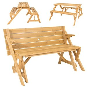 Best Choice Products 2-in-1 Outdoor Patio Interchangeable Wooden Picnic Table/Garden Bench - Natural