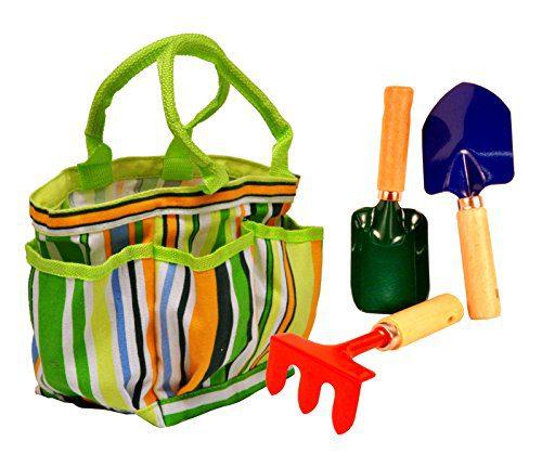G & F 10012 JustForKids Kids Garden Tools Set with Tote hand rake shovel trowel