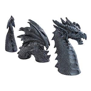 Design Toscano The Dragon of Falkenberg Castle Moat Lawn Garden Statue, 28 Inch Total, Polyresin, Grey Stone